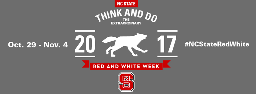 Alternative Facebook cover photo for alumni with a running wolf and the hashtag NCStateRedWhite.