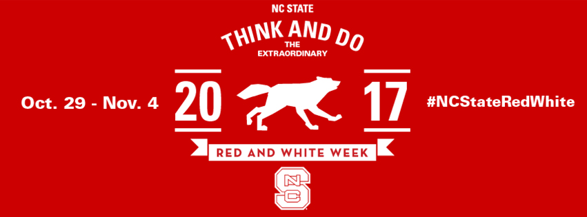 Facebook cover photo for students and fans with a running wolf and the hashtag NCStateRedWhite.