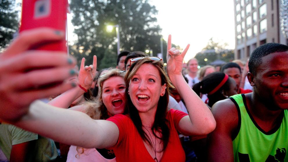 Students taking selfie