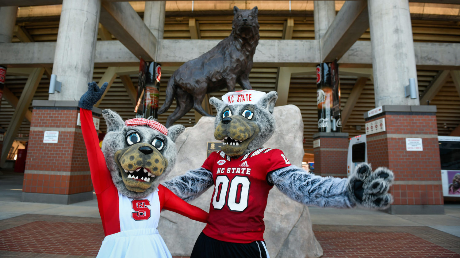Mr. and Ms. Wuf outside Carter Finley stadium
